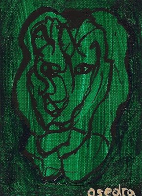 surreal ACEO original acrylic painting green lion canvas paper