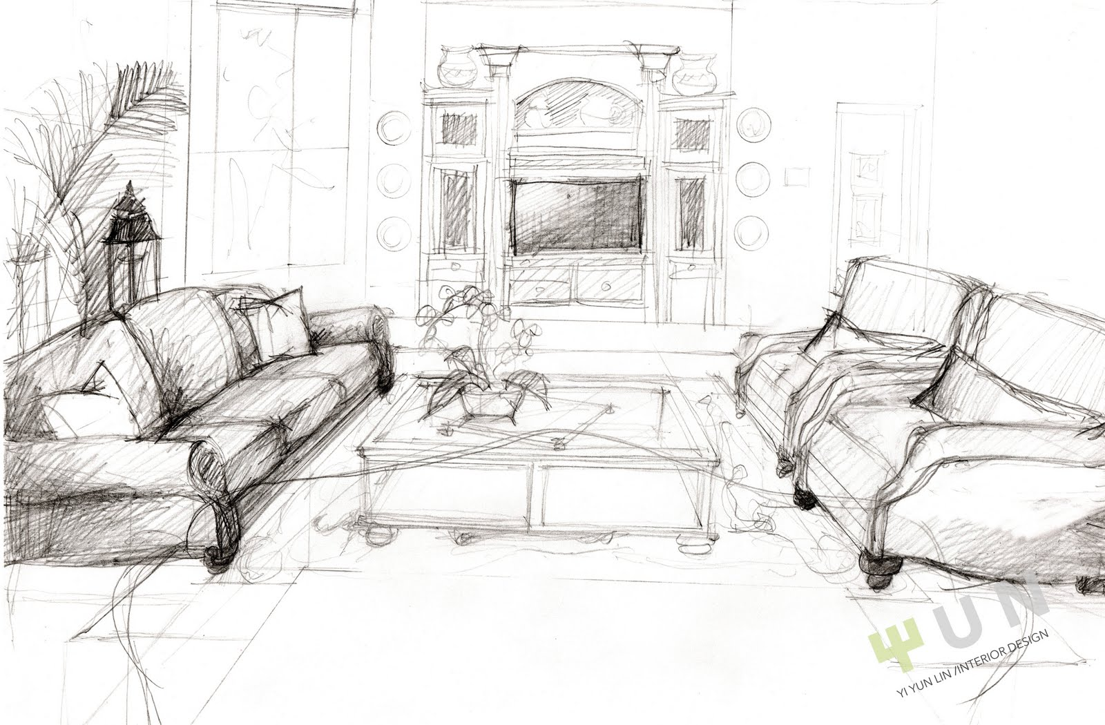 Interior design sketches interior design for Drawing room bed design