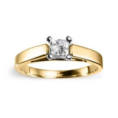 14k yellow gold princess cut solitaire engagement