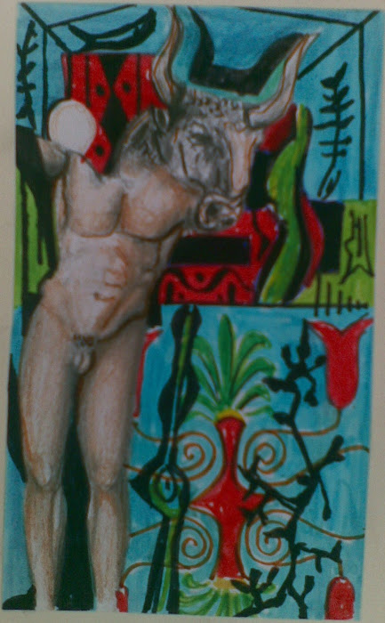 Hermes of Praxiteles [ Ερμης του Πραξιτελη ]  in Minotavros [ Μινωταυρος ] figuration [ paintings