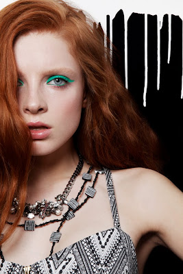 neon green eyeliner, black and white fashion accessories, nastya pindeeva model
