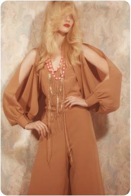 farrah fawcett hair, 70's jumpsuit, vintage halston, fashion shoot