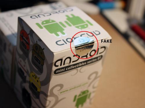 Cajas con sello falso