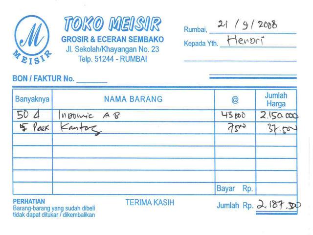 Abadi Jaya Grafika Form Nota