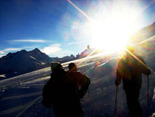 Skiers in the Sun
