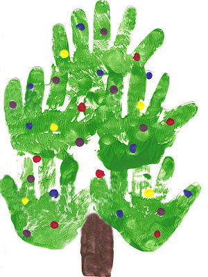 valentine handprint craft. Christmas Tree Handprint