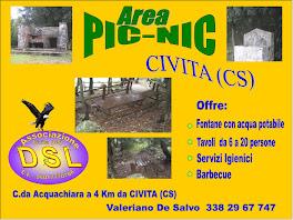 AREA PIC-NIC C.da Acquachiara Civita (CS).Servizio barbecue e tavoli con n° posti da 6 a 20.