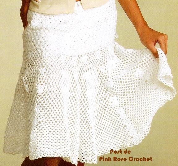 Saia Blusa Branca Croche   PRose Crochet JPG