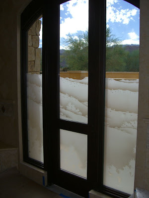 And shower enclosures with sandblasted windows and door glass - Sans Soucie Art Glass Studios Inc Entry Glass