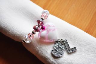 pink heart and letter charms