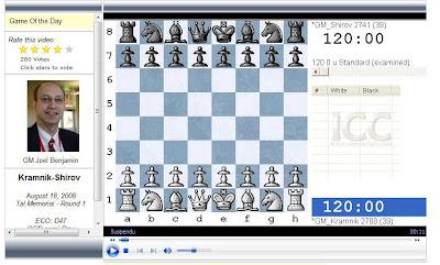 la vidéo d'échecs sur ICC