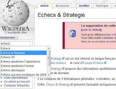 Chess & Strategy est sur Wikipedia pour 7 jours ou peut-être plus ?