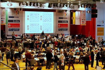 Vue générale sur les olympiades d'échecs à Dresde