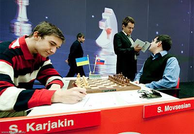 Sergei Karjakin vainqueur hier du slovaque Sergei Movsesian - photo Fred Lucas