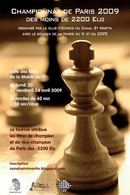 Championnat de Paris des moins de 2200 Elo du 20 au 24 avril