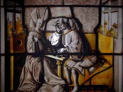 Un superbe vitrail sur le jeu d'échecs provenant de l'hôtel de la Bessée (Villefranche sur Saône) © Chess & Strategy