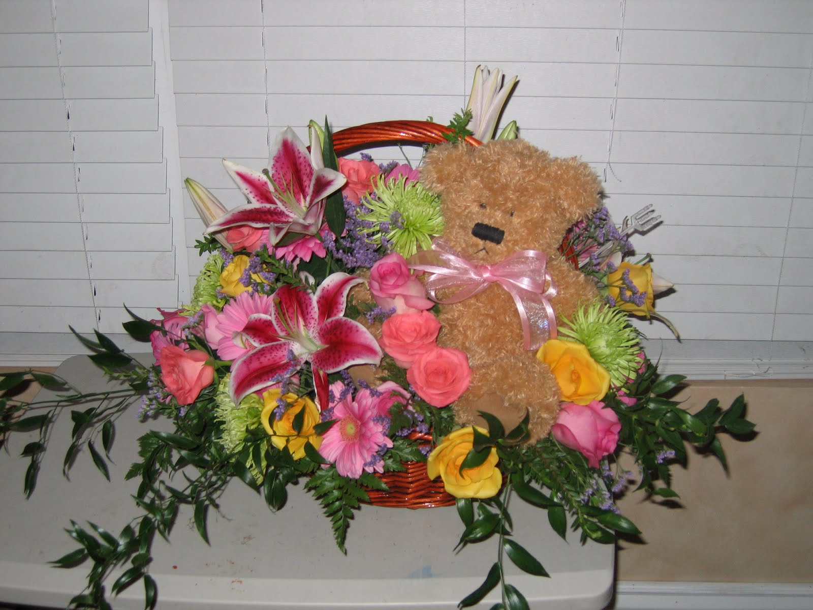 Winterbottom family happy birthday to our little angel after the flowers started wilting i did not know what to do with the basket and bear do i put the bear on sharyns grave or keep it izmirmasajfo