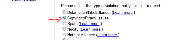Reporting copyright violations from Blogger
