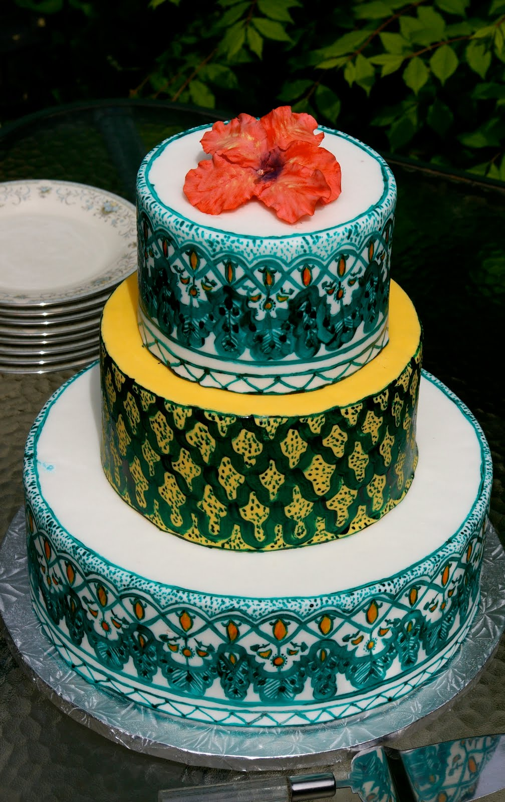 Here It Is Tommys Hypothetical Moroccan Wedding Cake Using Colours That Tommy Chose And Influence From Tajines I Painted The Design On
