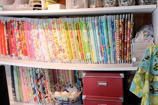 Recycled crafts:  organizing fabrics