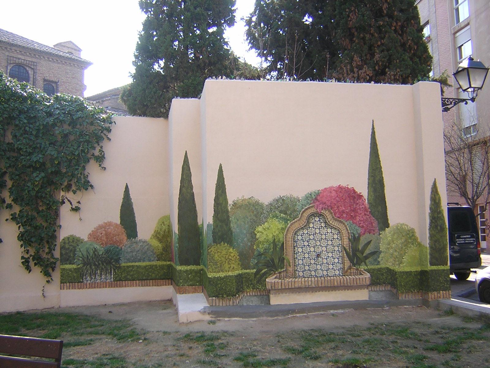 Formajardin muros pintados trampantojos imitando for Jardines murales