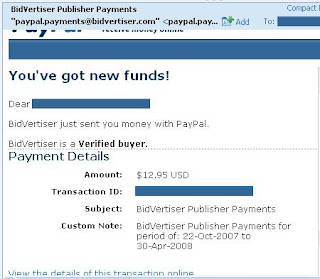 Bidvertiser Proof of Payment