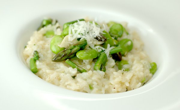 Springtime Risotto with Fava Beans and Asparagus at Paprika Red