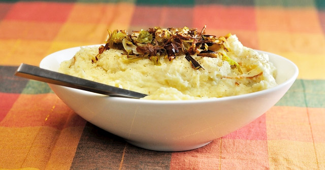 Creamy Winter Root Vegetable Mash with Frizzled Leeks at Paprika Red