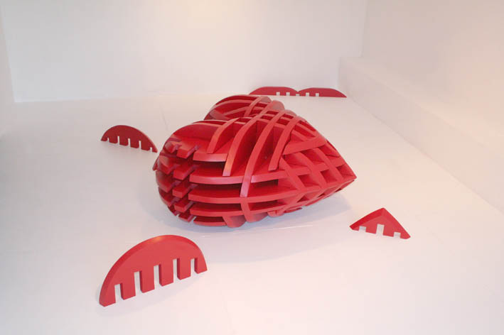 Heart: Dimensions Variable, 2005, 120 x 120 x 70 cm, 30mm super wood