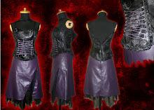 top corset y falda de cuerina