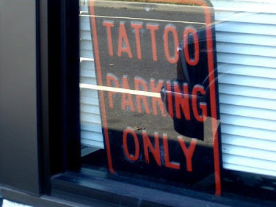 Park ONLY your tattoos here. Nothing else. No excuses.
