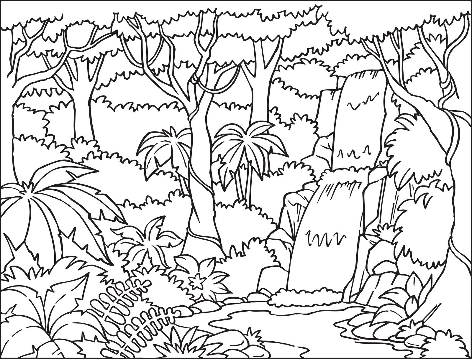 Printable Coloring Pages Of Animals In The Jungle Layers Rainforest Worksheets For Kids