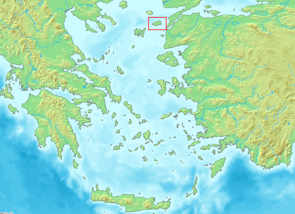 Θέση της Ίμβρου στο ελληνικό Αιγαίο πέλαγος