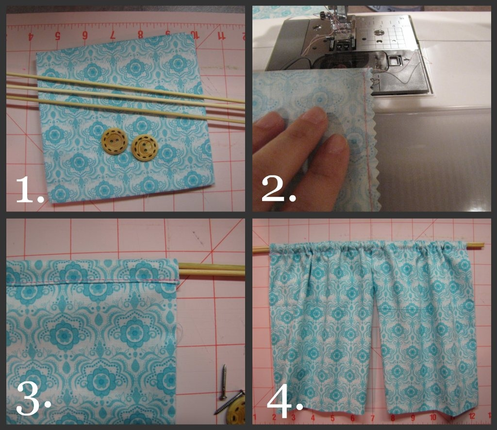 ♥1. I Used A Quilt Sqaure From Joannu0027s, Bamboo Skewers For The Rods And  Buttons For The Brackets ♥2. U0026 ♥3. I Cut The Fabric To Fit My Opening, ...