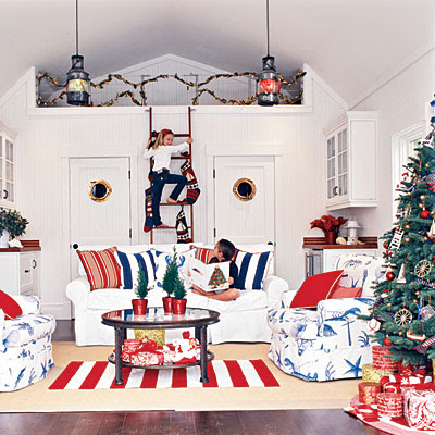 Seaside inspired beach decor festive holiday rooms as - Red white blue decorations ...