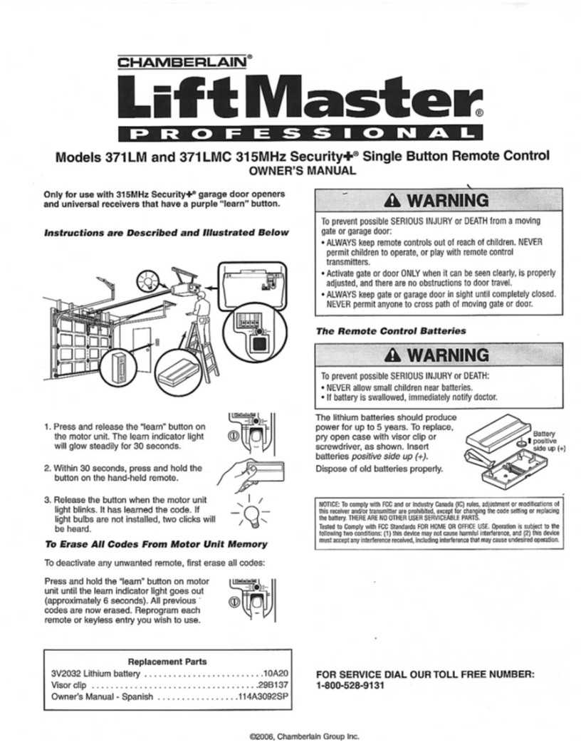 Liftmaster Remotes Instructions 371lm Liftmaster Remote