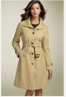 Ellen Tracy Wing Collar Trench Coat