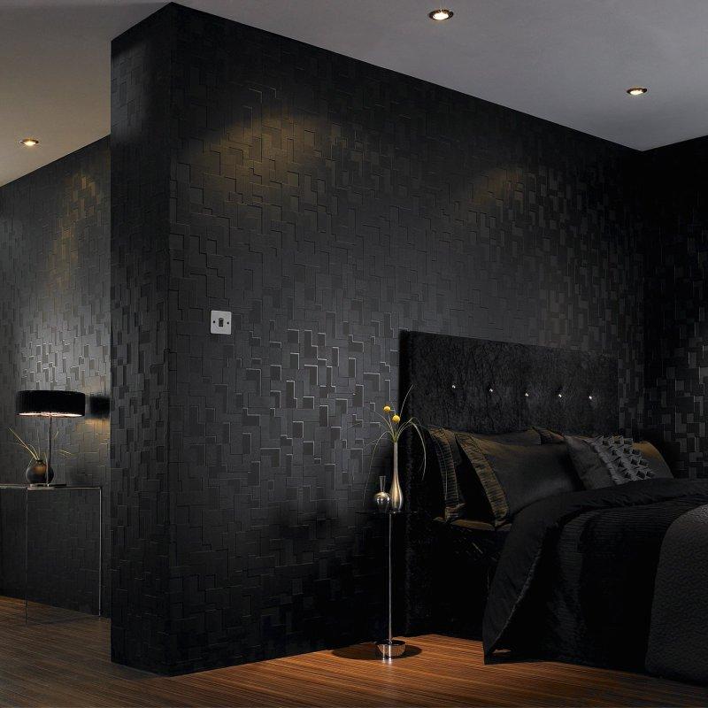 27 Stylish Bedrooms With Black Walls: Inspiracje, Aranżacje: Galeria Tapet