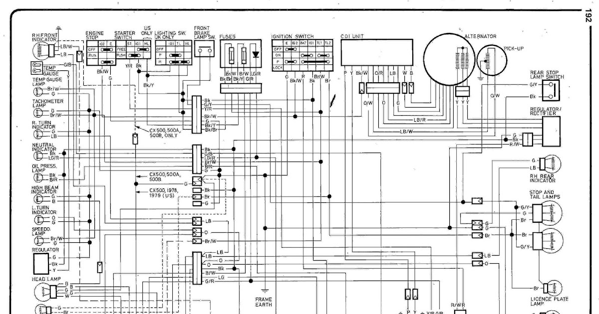 Honda CX500    wiring       diagram      Cars and Bikes