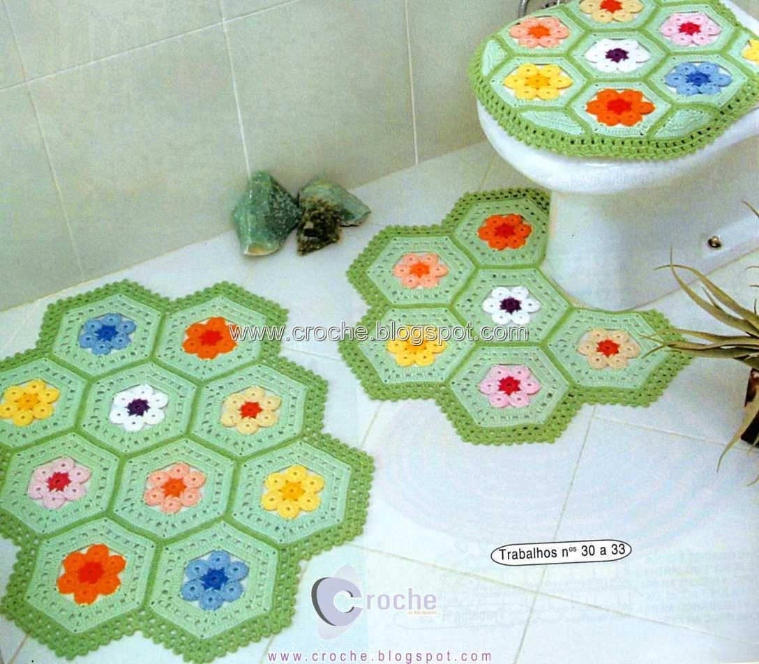 jogo de banheiro square colorido croche croche. Black Bedroom Furniture Sets. Home Design Ideas