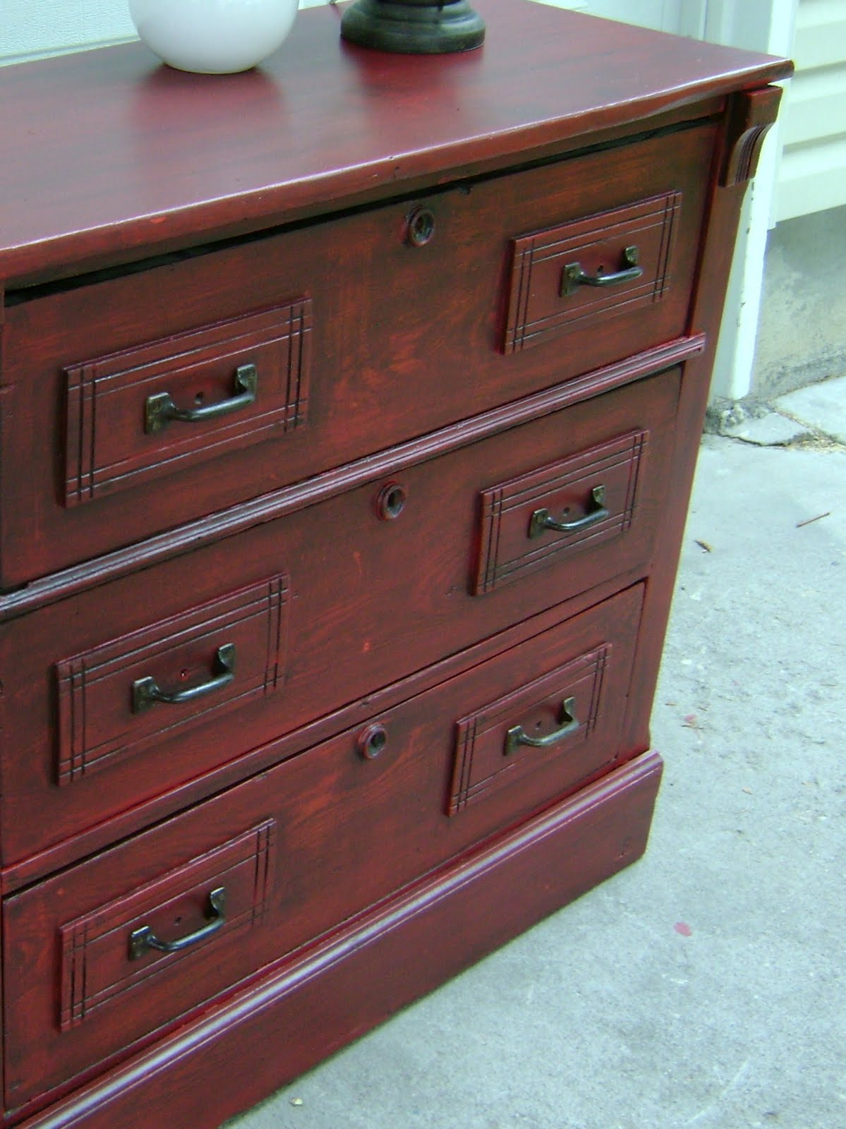 red distressed entry table chest