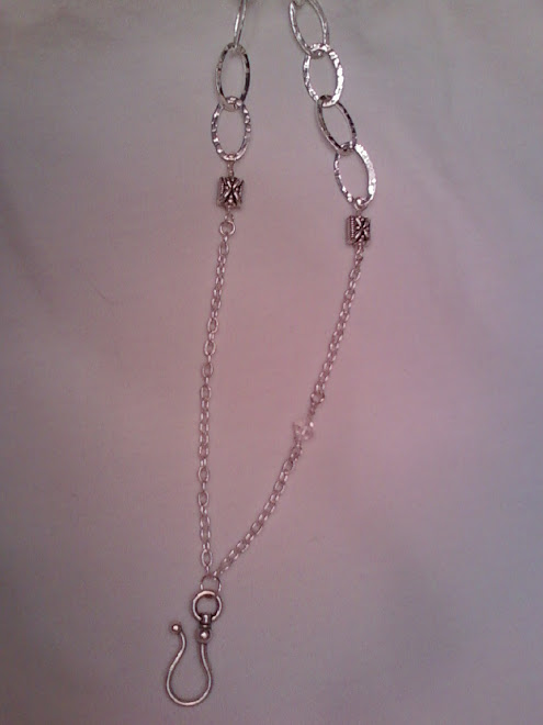 Silver hook chain w/crystal