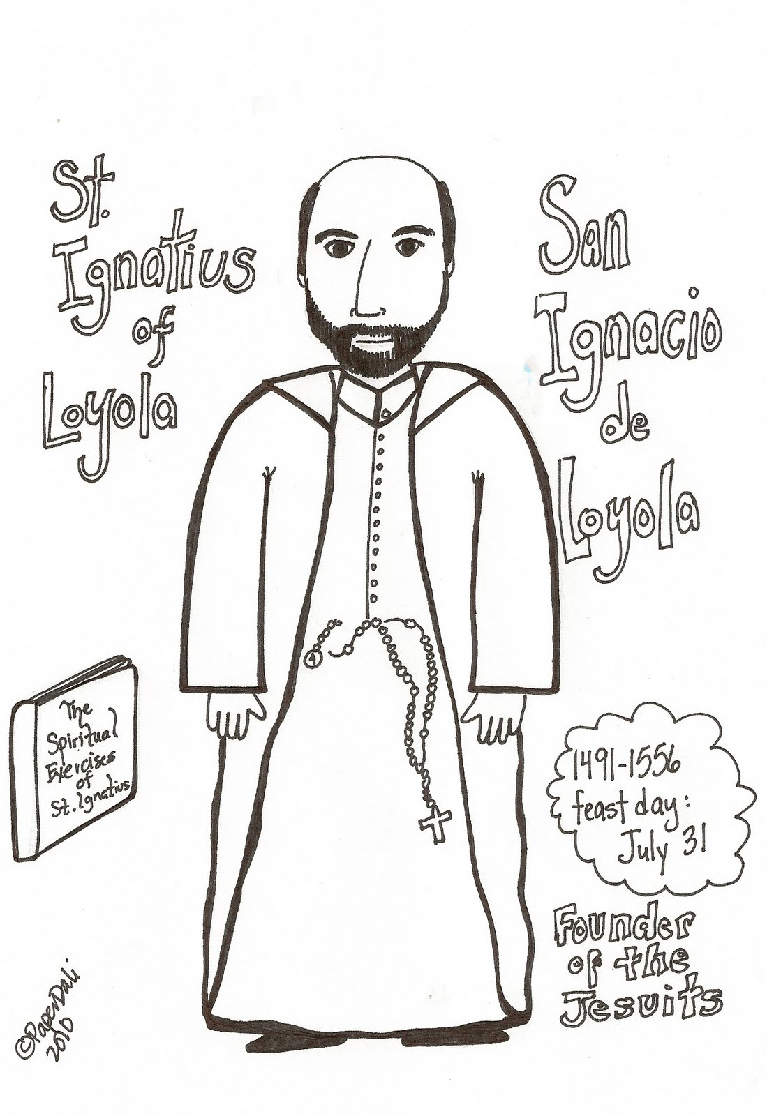 download the coloring pagepaper doll of saint ignatius of loyola