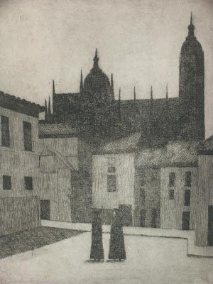 Curas en la plaza, grabado de Salvador Manzanera
