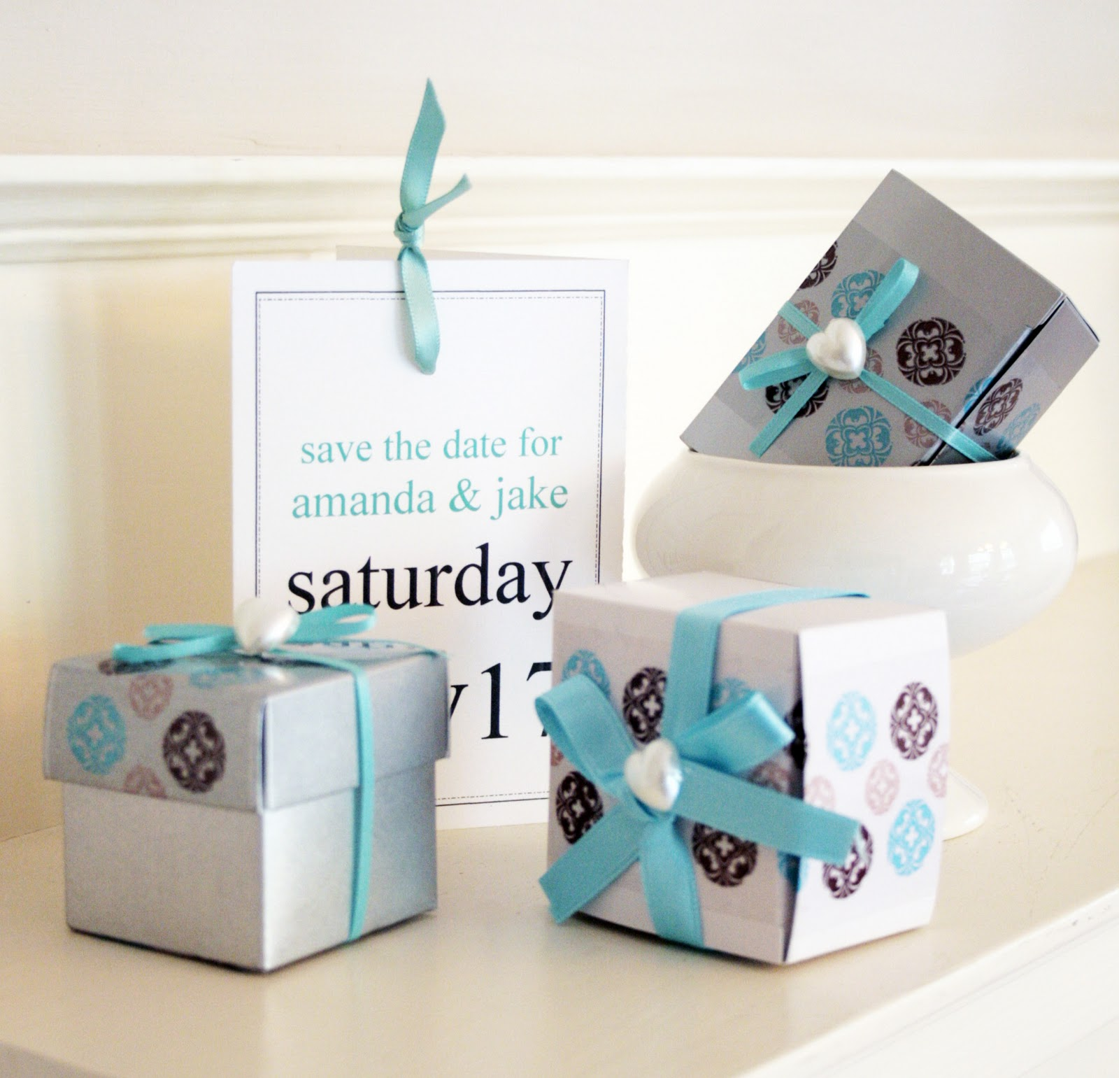 Decorative Tape in Action: Brown and Blue DIY Wedding Favor Ideas