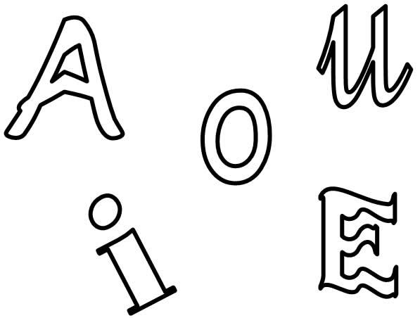 Letras. Atividades com vogais para colorir - QDB