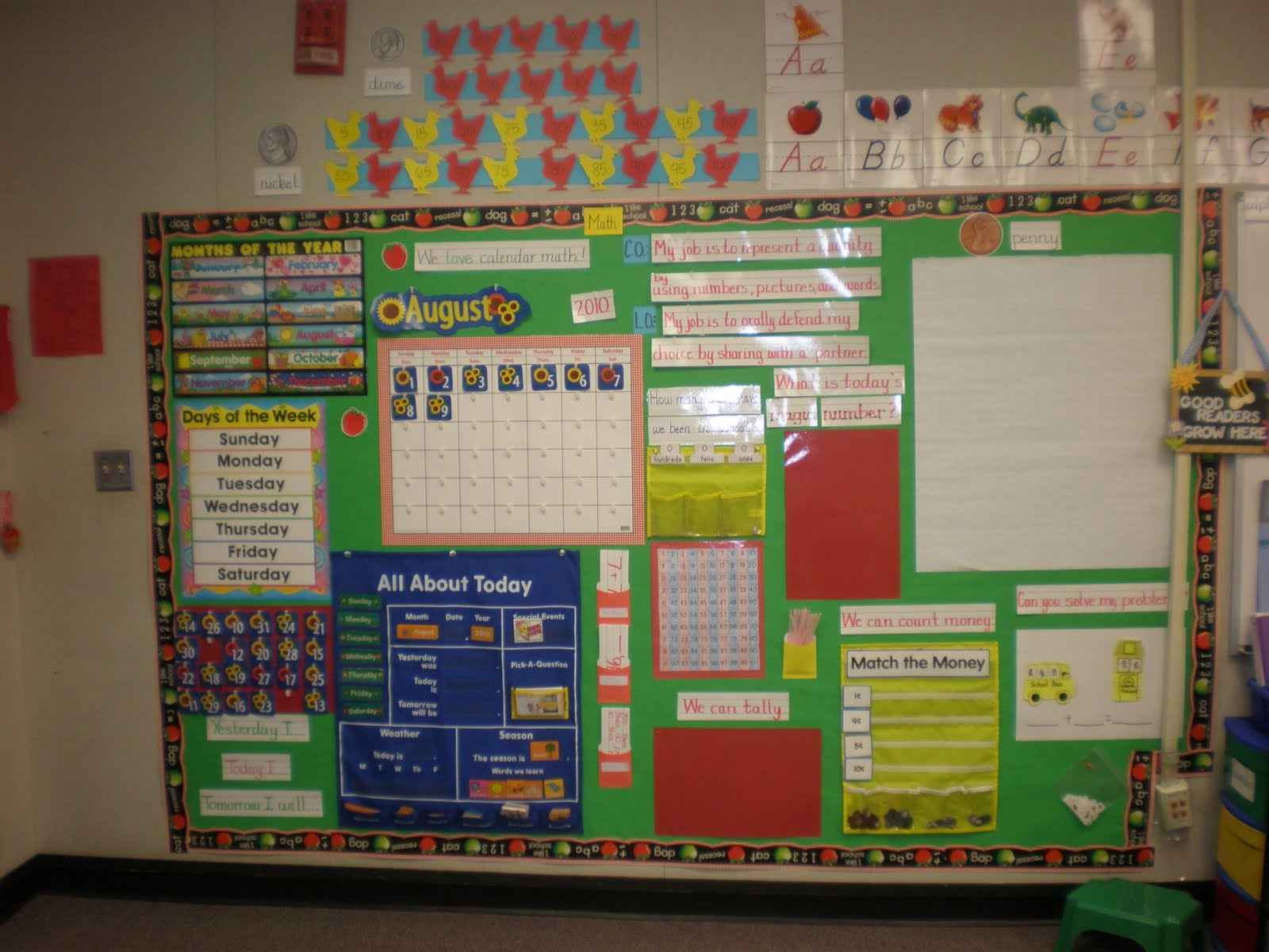 Math Focus Wall http://tickledpinkmandy.blogspot.com/2010/08/meet-teacher.html