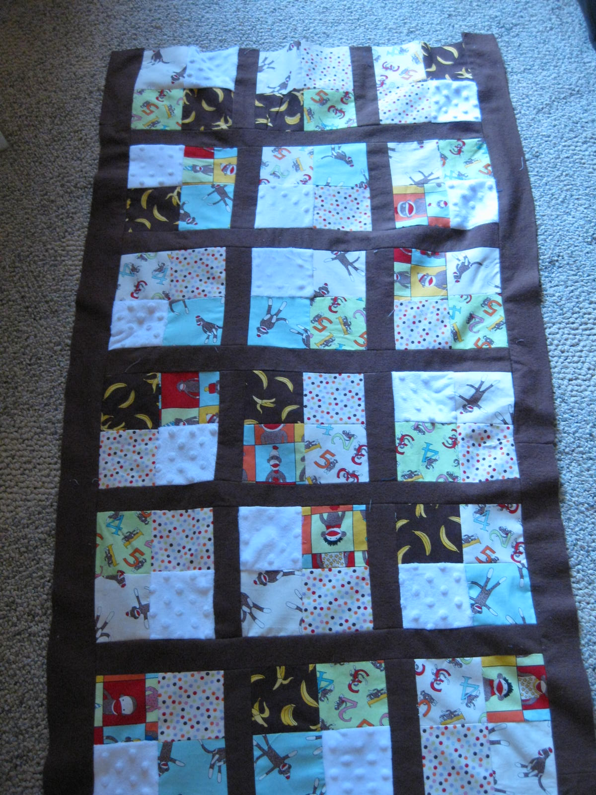 Crafters In The Sky Sock Monkey Baby Crib Quilt