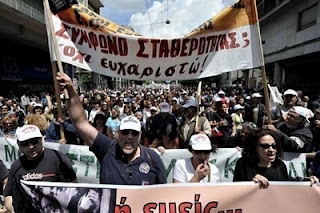 Greek protesters pensions Athens