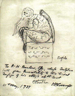 Cthulhu disegnato da H.P. Lovecraft in una lettera a Robert H. Barlow, 1934